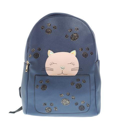 Ghiozdan bleumarin, decor pisica - Ghiozdan bleumarin, decor pisica