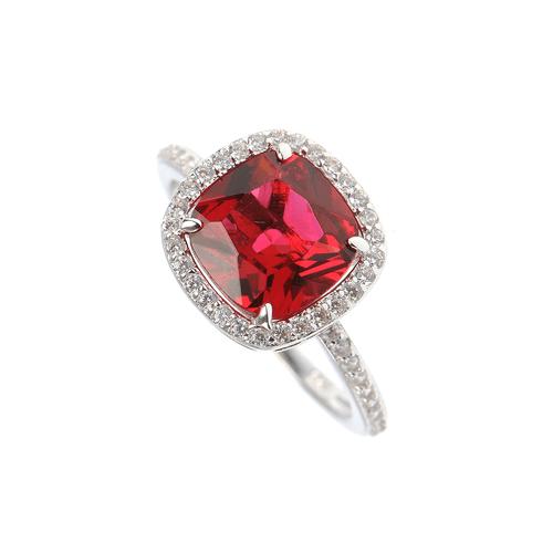 Inel argint cu cristal rosu - 56 poza 2021
