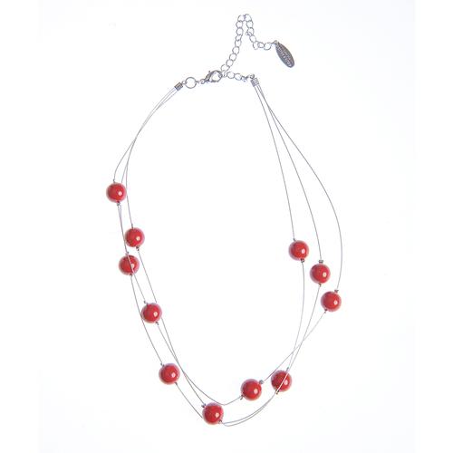 Bratara cu perle rosii acrilice poza 2021