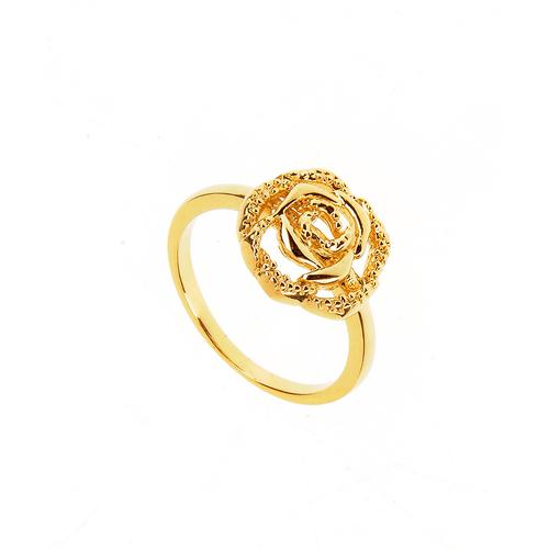 Inel placat cu aur model trandafir poza 2021