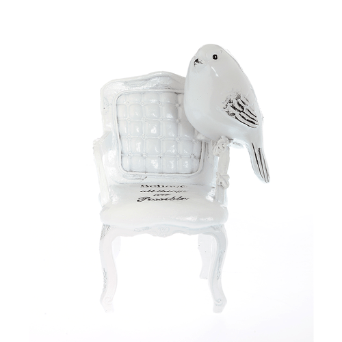 Statueta scaun cu pasare alba poza 2021