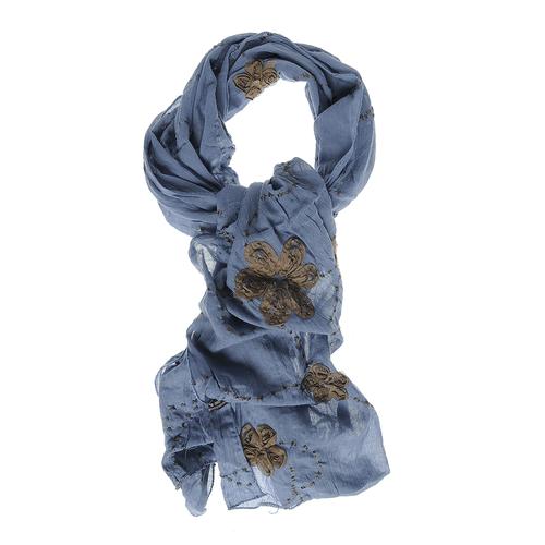 Esarfa albastra, cu flori cusute