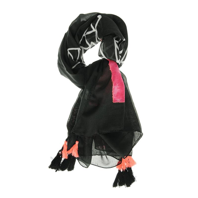 Esarfa-neagra-cu-ciucuri-colorati