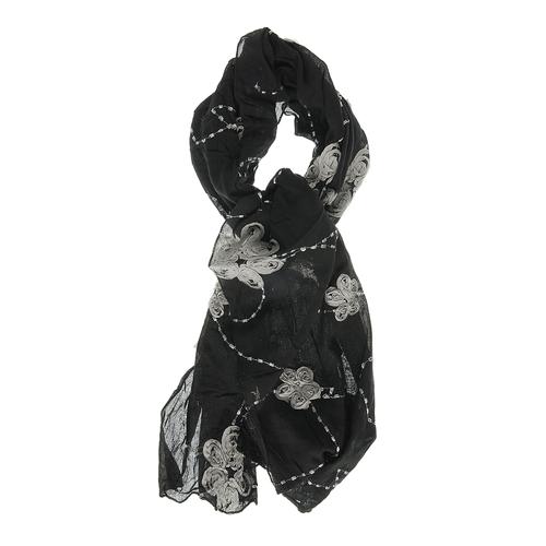 Esarfa neagra, flori aplicate