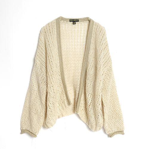 Pulover tricotat, cu insertii aurii