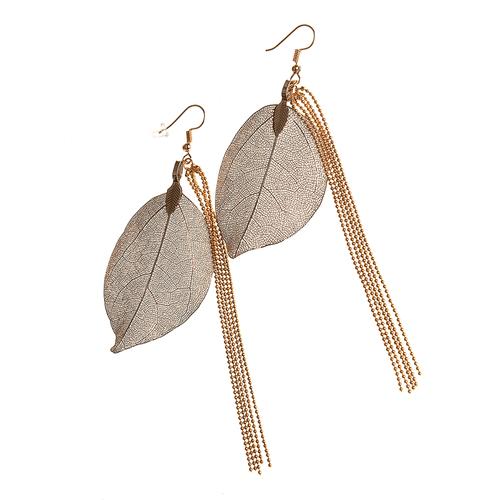 Cercei cu frunza filigranata