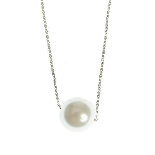 Colier argint perla acrilica alb poza 2021