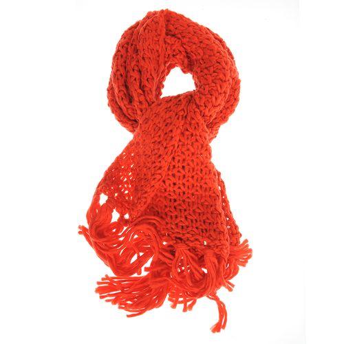 Fular rosu tricotat cu franjuri lungi poza 2021