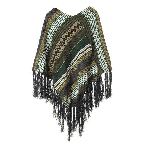 Poncho tricotat, franjuri albastri