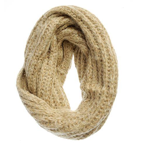 Fular bej tricotat cu fire aurii poza 2021