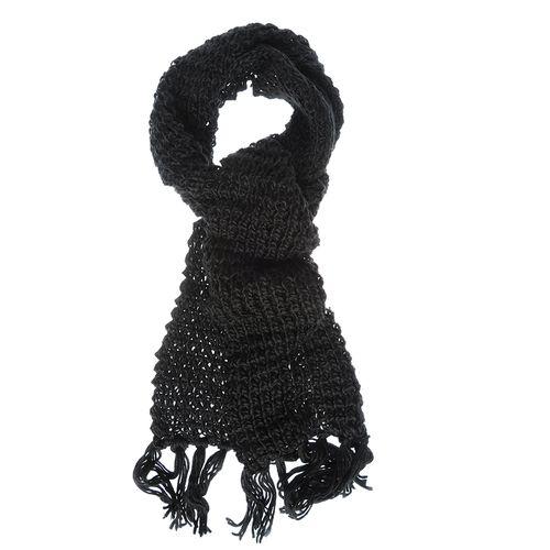 Fular negru tricotat cu franjuri