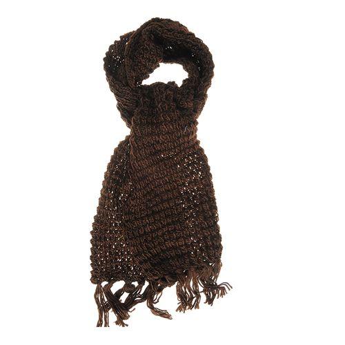 Fular maro tricotat cu franjuri