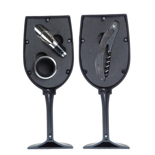 Set accesorii vin in pahar negru poza 2021
