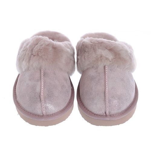 Papuci roz, blana naturala 35