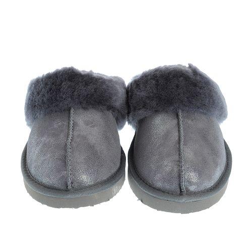 Papuci gri, blana naturala 35