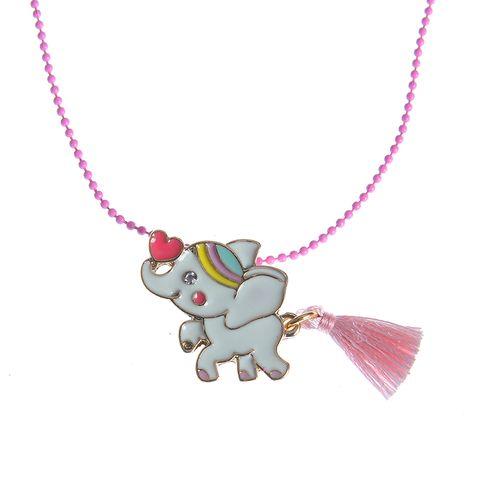 Colier roz pandantiv elefant