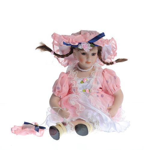 Papusa portelan, cu rochita roz
