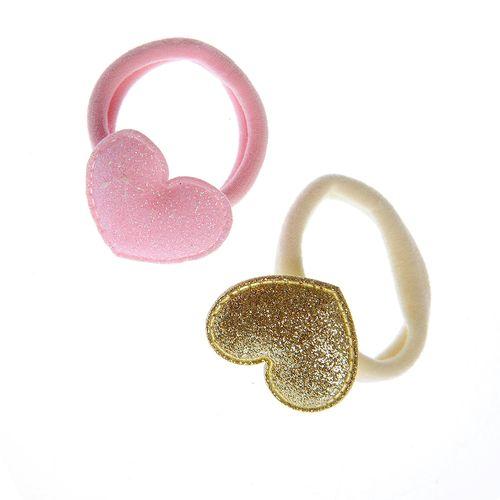 Set 2 elastice par, cu inimi sclipitoare