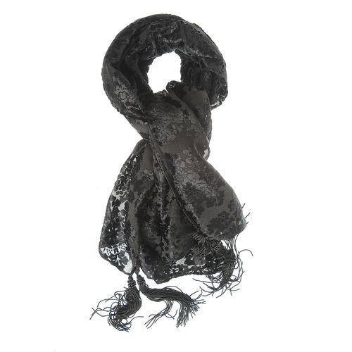 Esarfa neagra cu flori catifelate