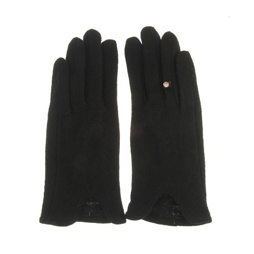 Manusi negre din lana, cu inel stilizat