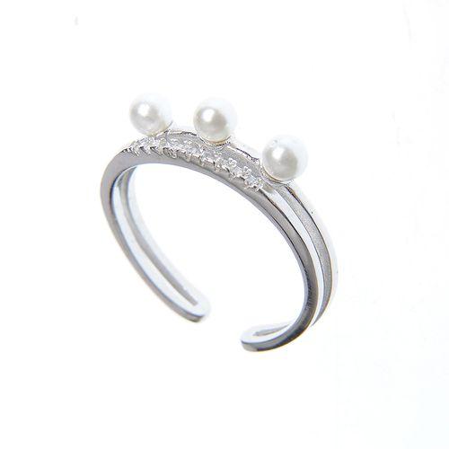 Inel deschis din argint cu perle acrilice poza 2021