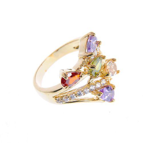 Inel multicolor, placat cu aur - 191996 2 - Inel multicolor, placat cu aur