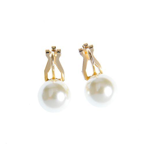 Cercei placati cu aur si perla acrilica