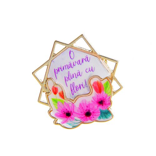 Brosa, martisor cu flori si mesaj