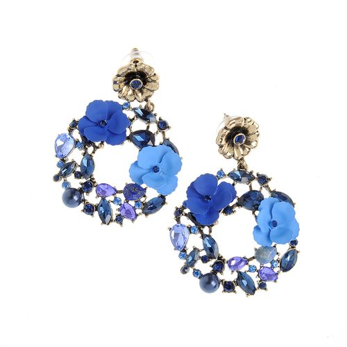 Cercei , coroana de flori albastre