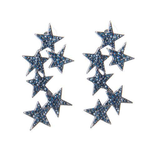 Cercei lungi, cu stele albastre