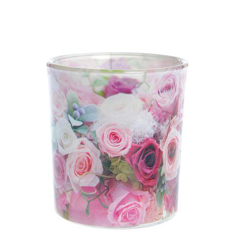 Lumanare in pahar imprimat Roses poza 2021