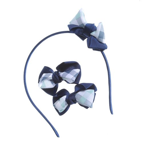 Set accesorii par carouri bleumarin poza 2021