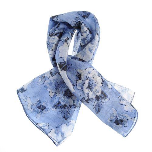 Esarfa matase albastra, cu flori poza 2021
