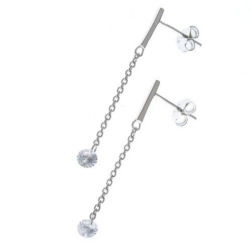 Cercei argint cu lantisor si cristal zirconic