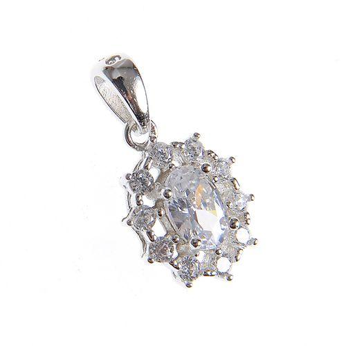 Pandantiv argint floare ovala poza 2021