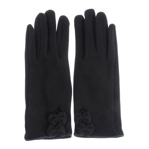 Manusi cu funde, lana neagra poza 2021