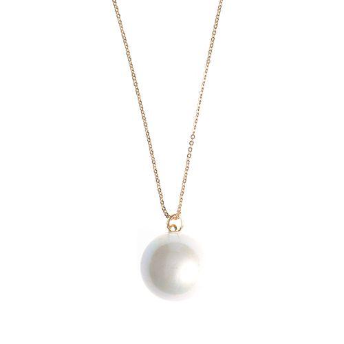 Colier cu perla acrilica alba - Colier perla acrilica alba poza 2021