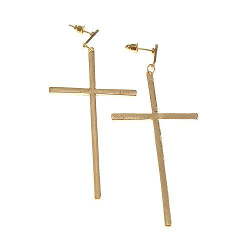 Cercei cruce mare auriu poza 2021
